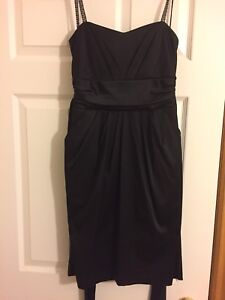 Women's black satin dress - M