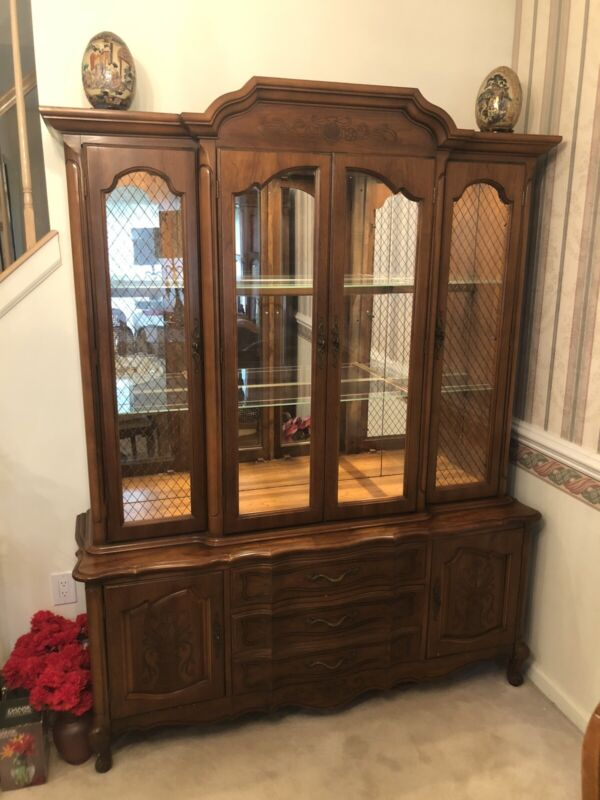 China Cabinet Breakfront with matching Buffet Storage Cabinet - Vintage