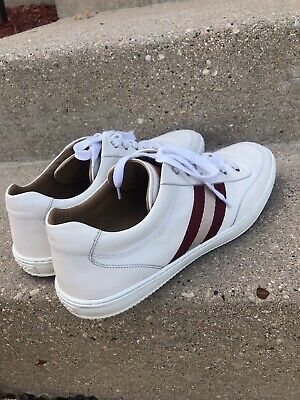 Bally Oriano Low Top Leather Sneakers in White/red stripes.Sz 12 Us