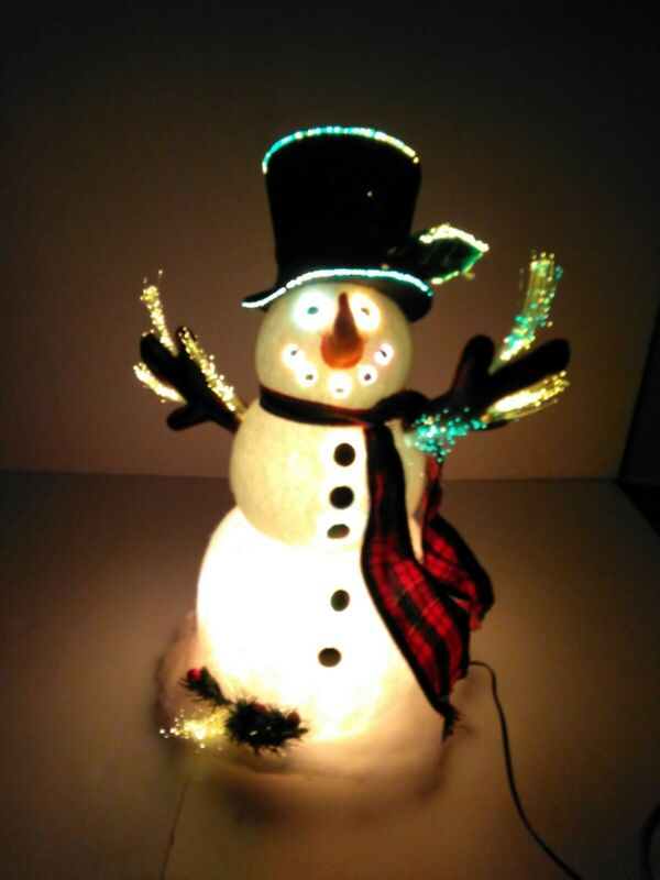 Indoor Christmas Snowman Fiber Optic 17""