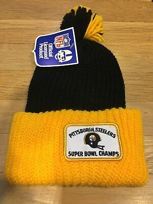 1970'S PITTSBURGH STEELERS KNIT ORLON CAP VINTAGE GIMBELS MINT OLD STORE STOCK - Pittsburgh Steelers Store