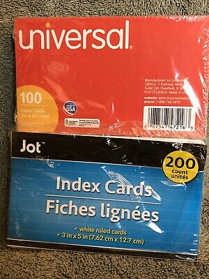 350 Index Cards 3 X 5 - 180 Jot White And 170 Universal Colored Ruled Cards