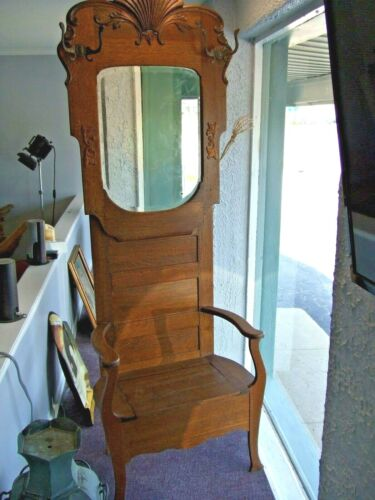 Antique Oak Hall Tree Entryway Coat Stand w/ Beveled Mirror & Storage- ca.1890