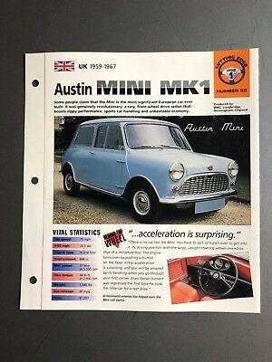 """1959-1967 Austin Mini MK1 IMP """"Hot Cars"""" Spec Sheet Folder Brochure Awesome"""