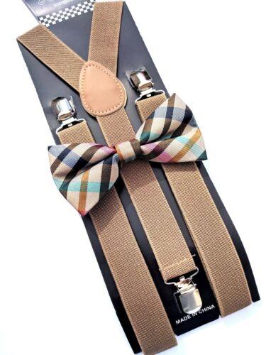 New Tan Khaki Suspender And Pastel Bow Tie Set Tuxedo Wedding Suit