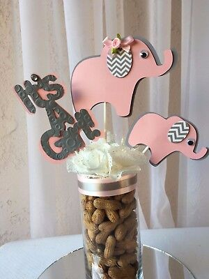 Peanut elephant/ elephant centerpieces stick/ elephant baby shower/ It's a girl  (Girl Elephant Baby Shower)