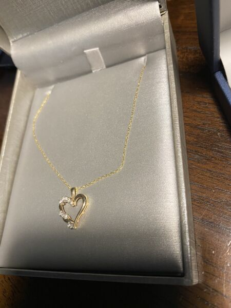 10k gold and diamond pendant on chain
