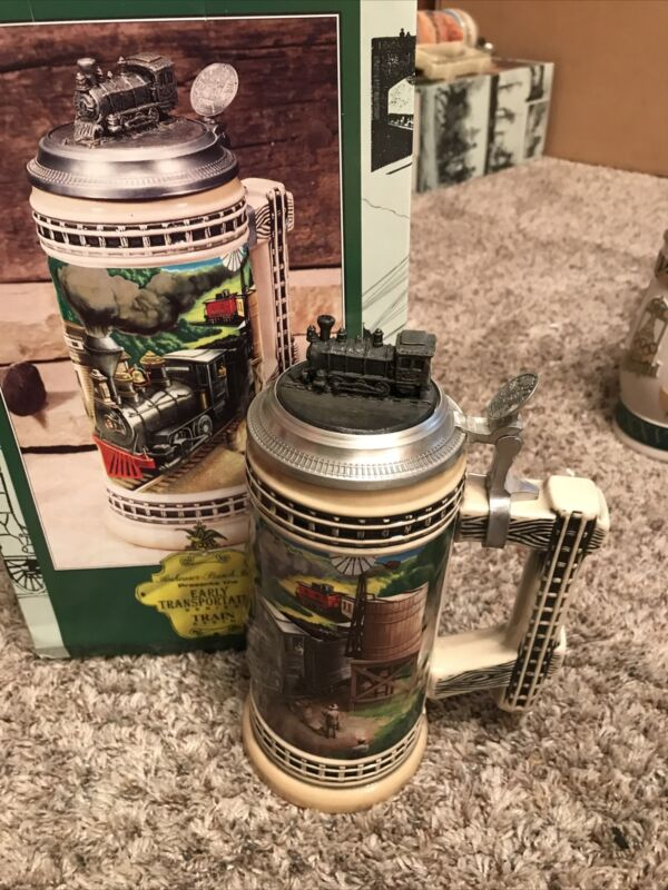 1997 Anheuser Busch Budweiser Early Transportation Beer Stein TRAIN I New in Box