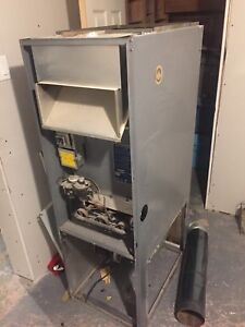 Old furnace with digital thermostat and wire