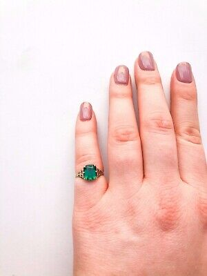 1940s Jewelry Styles and History 1940s Art Deco 10k Yellow Gold Solitaire Filigree Ring Green Glass Square Stone $85.00 AT vintagedancer.com