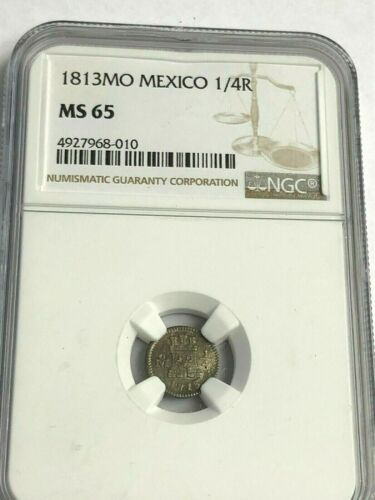 1813-Mo MEXICO 1/4 REAL silver, NGC MS-65