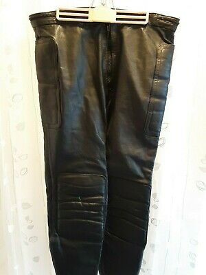 Drag Specialties genuine heavy black leather mens pants size 40 (Med) (Drag Pants)