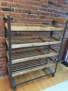 Distressed/Vintage Wine/Rolling Rack/Shelf