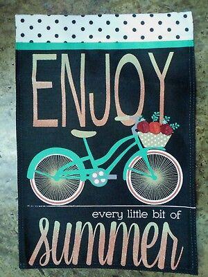 """ENJOY every little bit of summer"" Bicycle Burlap-look decorative Garden flag"