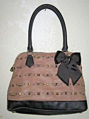 Betsey Johnson Brown Leather Studded Black Bow Handbag Purse