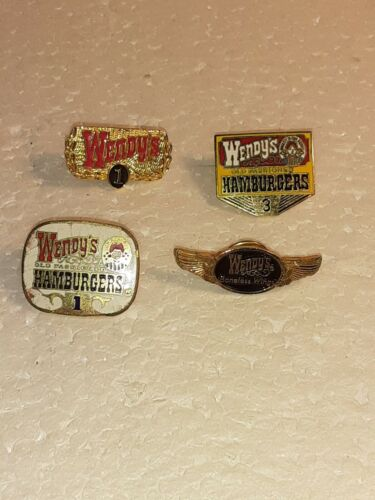 4 WENDYS EMPLOYEE LAPEL PINS