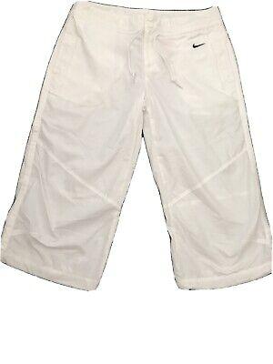 NIKE White 3/4 Length Capri Cargo Pants  UK M 10/12 - Casual Fitness Sports Yoga