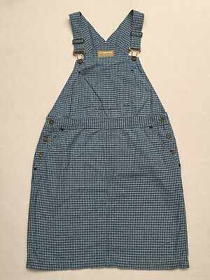 LIZ CLAIBORNE LIZ WEAR Women's Blue/White Checkered Bib Overall Skirt, Size M
