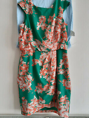 """Jessica Simpson Floral Pattern Dress With Wrap Skirt.Size 12(38"""") Green/Orange"""