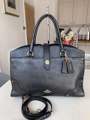 COACH Mercer Black Soft Pebbled Leather Satchel Bag.