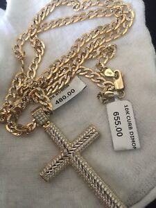10K Gold Chain + 10K Gold Cross Pendant.