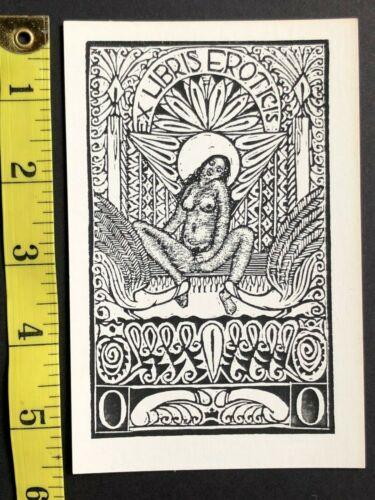 EX LIBRIS erotic art postcard b&w book plate illustrated woodcut letterpress #6
