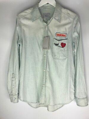 RAILS Blue Denim Button Down Shirt Blouse Size L Original Pin