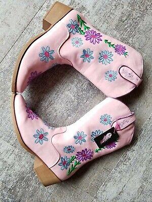 Girls Cowboy Boots Blazin Roxx Size 5.5 Floral Embroidered Pink New