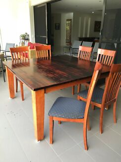 large square dining table with 6 chairs