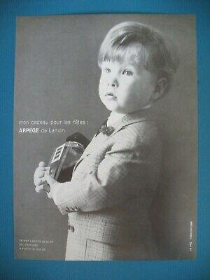 PUBLICITE DE PRESSE LANVIN PARFUM ARPEGE POUR LES FETES ENFANT AD 1962