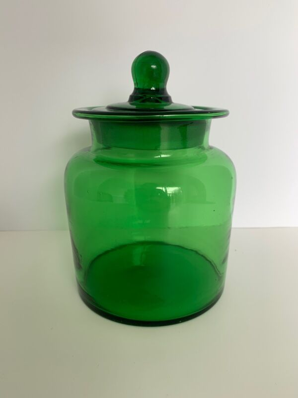 """VINTAGE APOTHECARY Canister Jar Dark Forest Green Glass 7"""" Tall, 4.5""""diameter"""