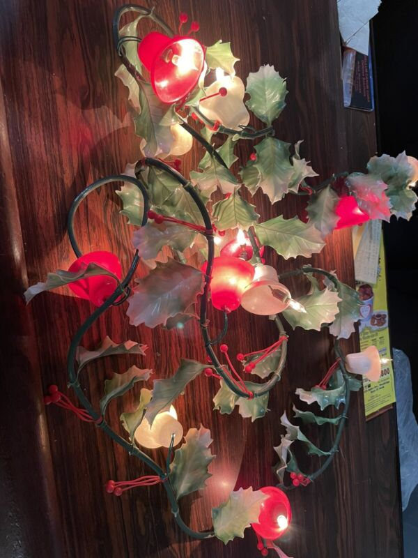 Vintage Noma Holly Berries Bells Christmas Garland Working Twinkling Light VGUVC