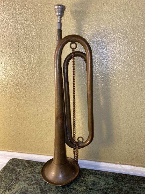 Vintage Brass Silvertone Bugle US Regulation