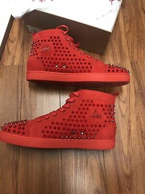 AUTHENTIC Christian Louboutin Louis Flat Poppy Red Suede -Metallic Spike
