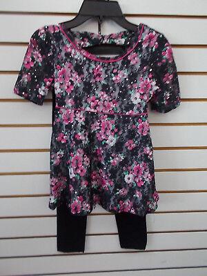 Girls Pogo Club 2Pc Black   Pink Lace Floral Set Size 7 8   14 16