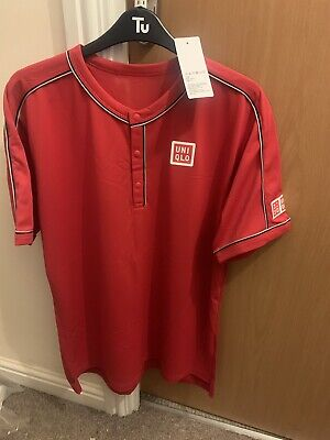 Brand New Roger Federer Shanghai 2019 Uniqlo Red Polo Top Medium/Large