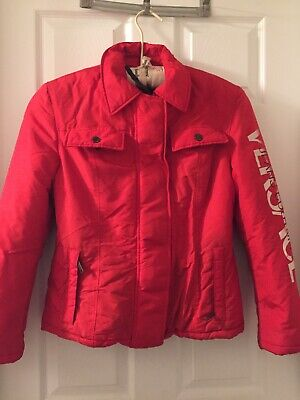 VERSACE JEANS COUTURE Women's Red Logo Script Down Coat Jacket Size S
