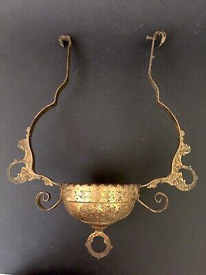 Ornate Old Victorian Antique Brass Hanging Oil Lamp Frame & Font Holder Cup