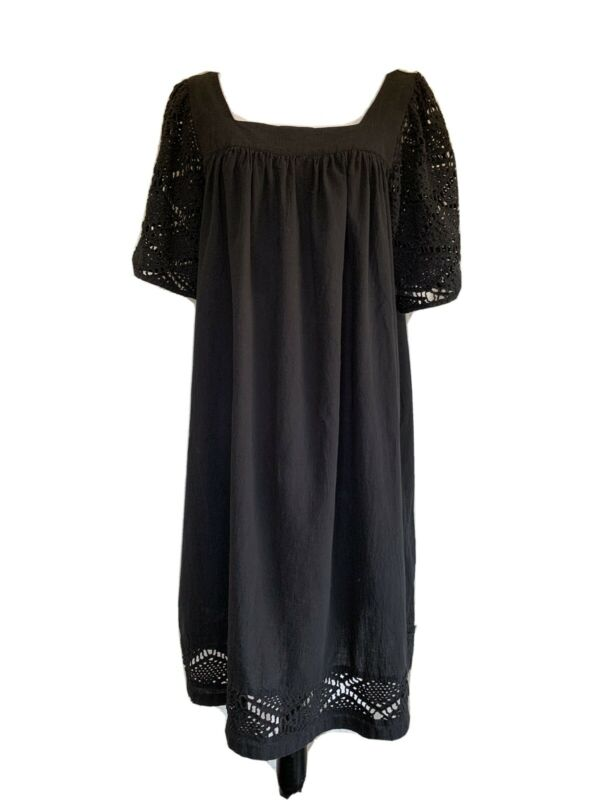 Vintage 80's Black Cotton Caftan Tent Style Dress. L