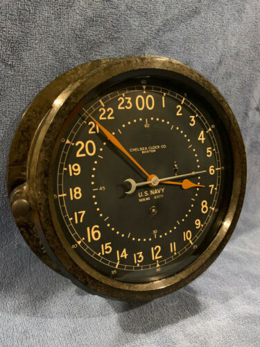 "** Fully Restored** 1942 WWII US NAVY 24hr. Chelsea Ships Clock 8.5"" Dial"