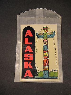 Vintage Original Travel Souvenir Decal Alaska Indian Totem Pole NOS