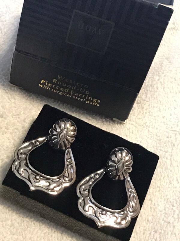 1996 Vintage Avon Western Round-up Earrings Silver Tone