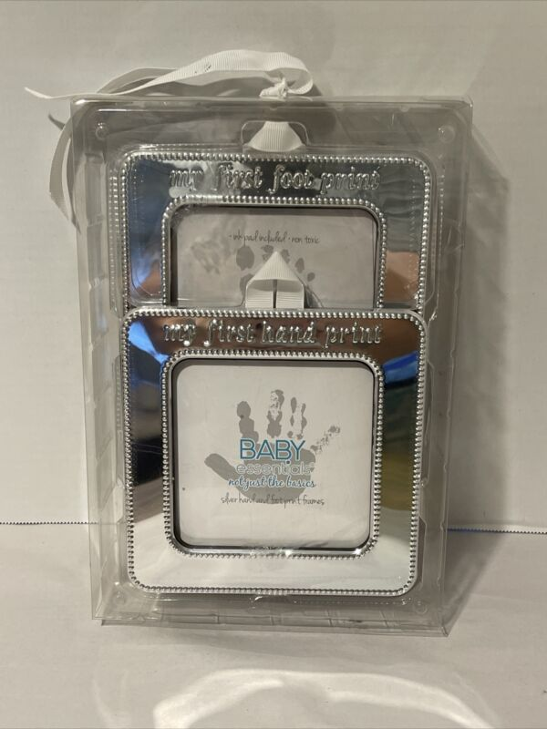 Baby Essentials NIB Hand and Foot Print Kit Silver Frames ~ Free Shipping!