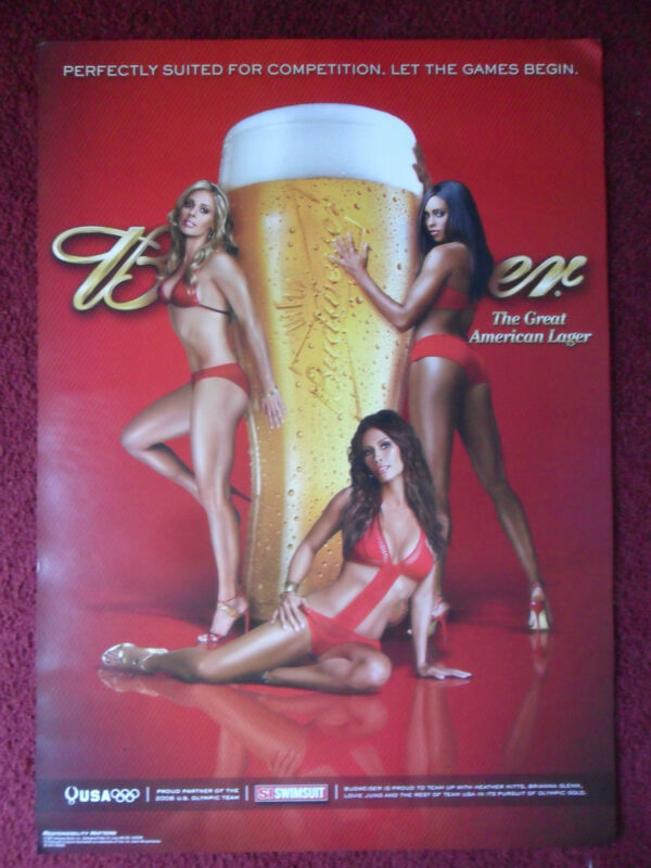 Sexy Girl Beer Poster Bud Budweiser USA Olympic Team 3 Hot Girls with Swimsuits