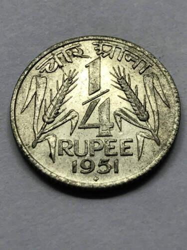 1951-B India 1/4 Rupee XF Rare Silver #10055