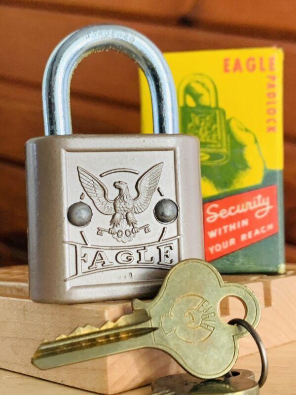 Eagle Lock Vintage Padlock NOS Locksport 2 Keys USA