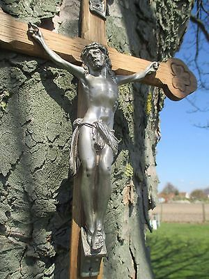 "Vintage Carved Oak Hanging Crucifix Cross Jesus Christ Art Brass Corpus 23.42"""