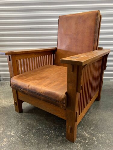 ARTS & CRAFTS MISSION MORRIS RECLINER WOOD & LEATHER CHAIR