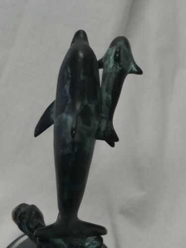 SPI San Pacific Intl. BRONZE PATINA DOLPHINS Mom Baby SCULPTURE STATUE 6  - $28.00