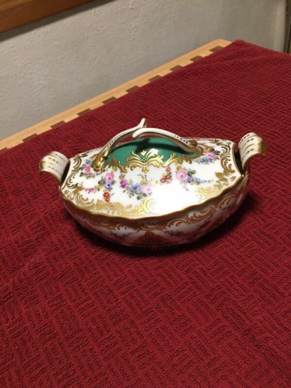 Antique Sevres France Hand Painted Porcelain Bowl With Lid, Gilt.